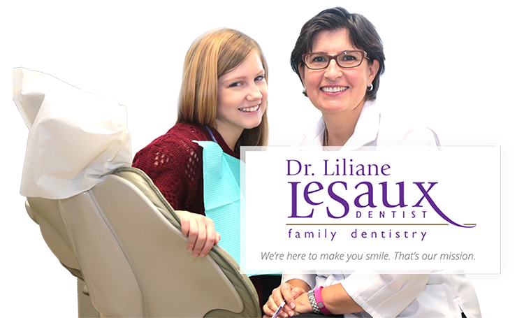 Young post-secondary student smiling while sitting in dentist chair with Dr. Liliane Le Saux